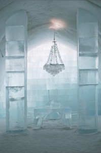 Central hall at Ice Hotel near Kiruna, Lapland, north Sweden